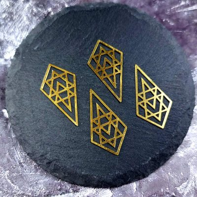 Medieval Castle Windows, 4 raw brass charms, LIMITED PRODUCT