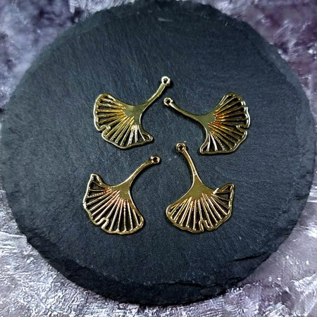 """4 Glossy Golden color Charms """"Gingko Leaves"""""""