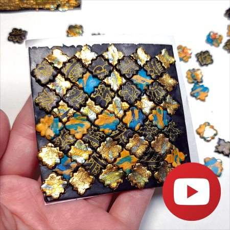 Colorful Tiles Veneer with polymer clay, paints & foils