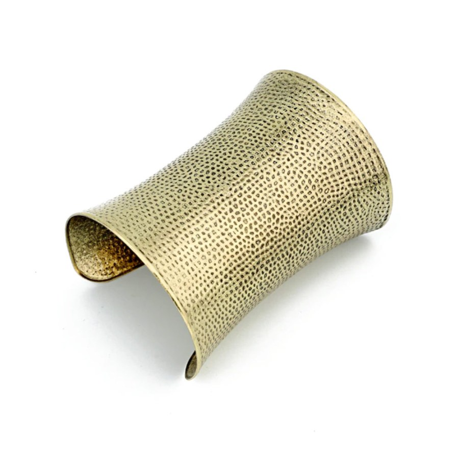 Wide Vintage Bronze Metal Bracelet Base (9.7x7cm)