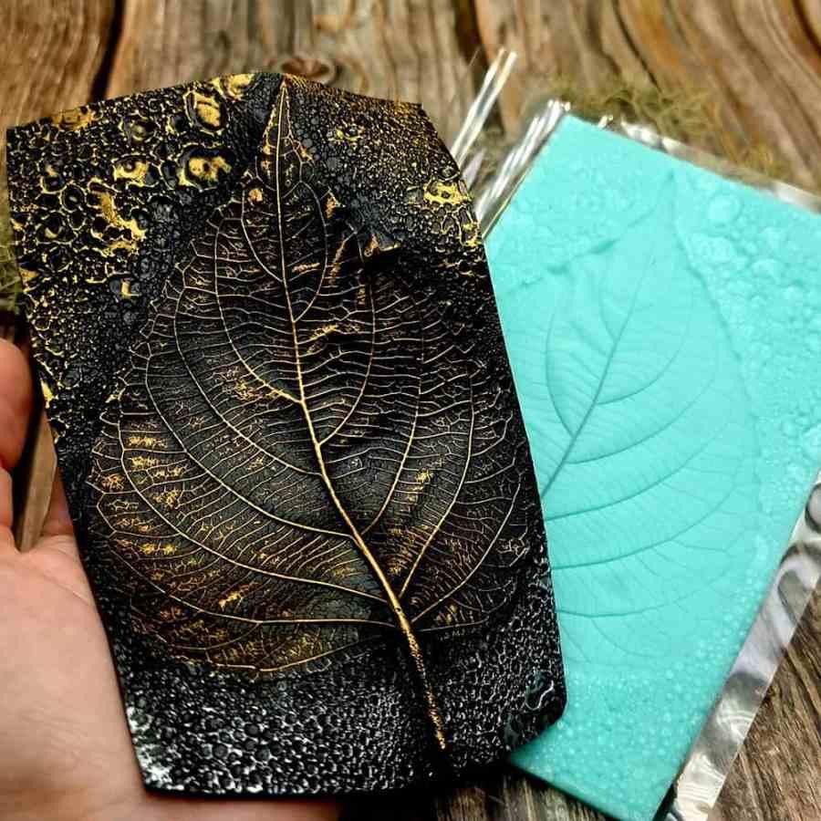 Large Leaf Pattern - Handmade real leaf texture-mold #1