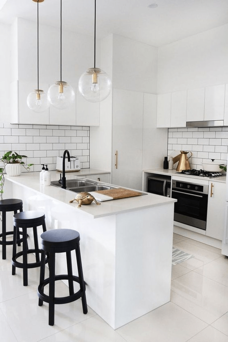 Black Kitchen Design Ideas With White Color Accent 21