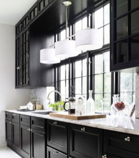 Black Kitchen Design Ideas With White Color Accent 30