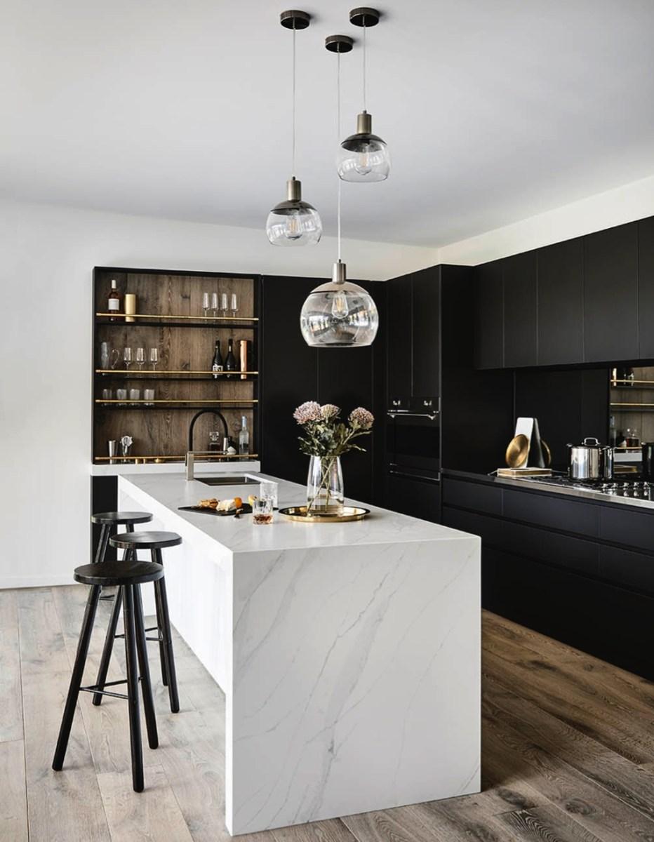 Black Kitchen Design Ideas With White Color Accent 32