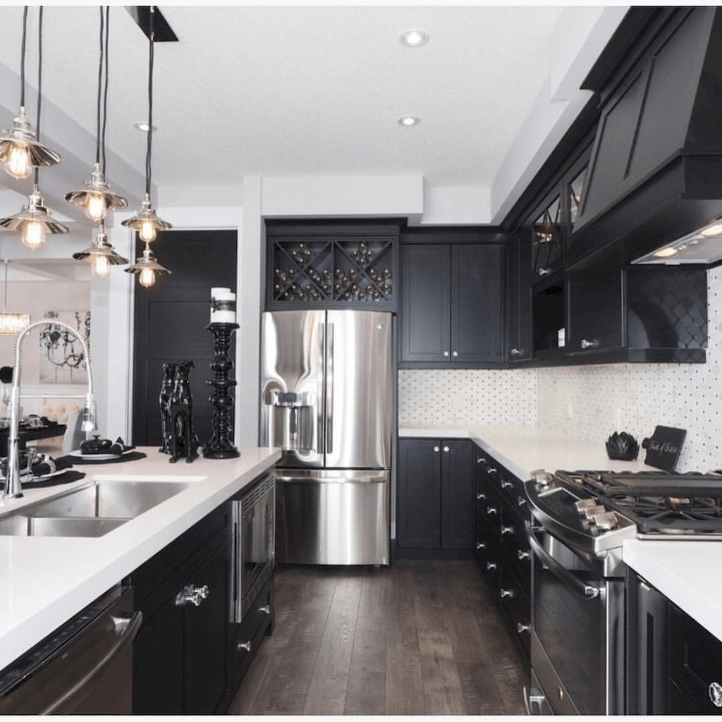 Black Kitchen Design Ideas With White Color Accent 35