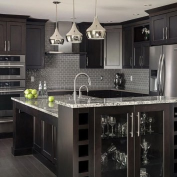 Black Kitchen Design Ideas With White Color Accent 46