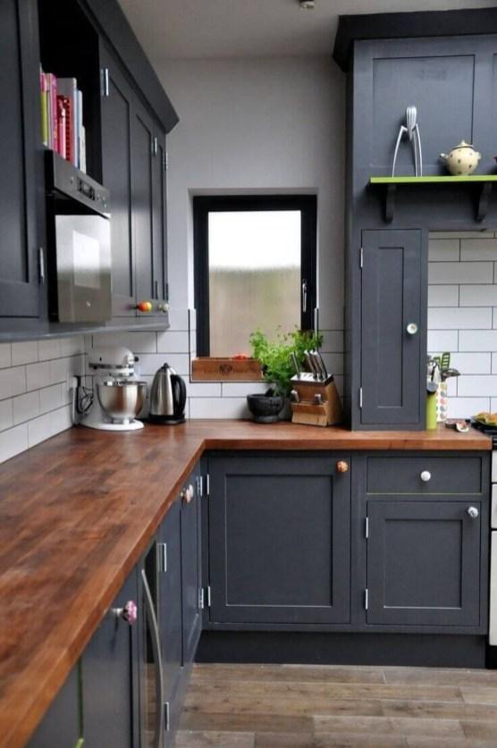 Black Kitchen Design Ideas With White Color Accent 49