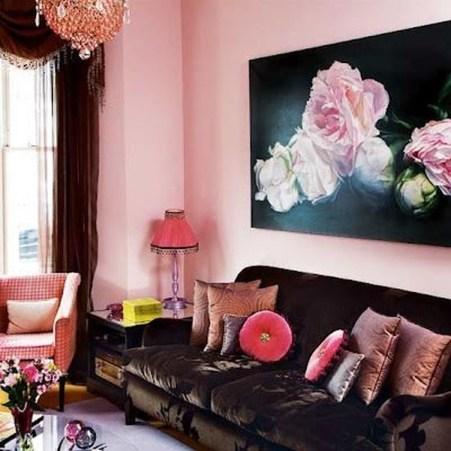 Lovely Pink Living Room Decor Ideas 20