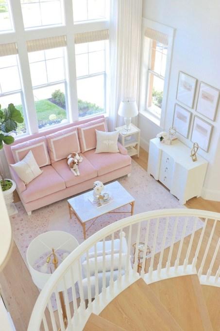 Lovely Pink Living Room Decor Ideas 35