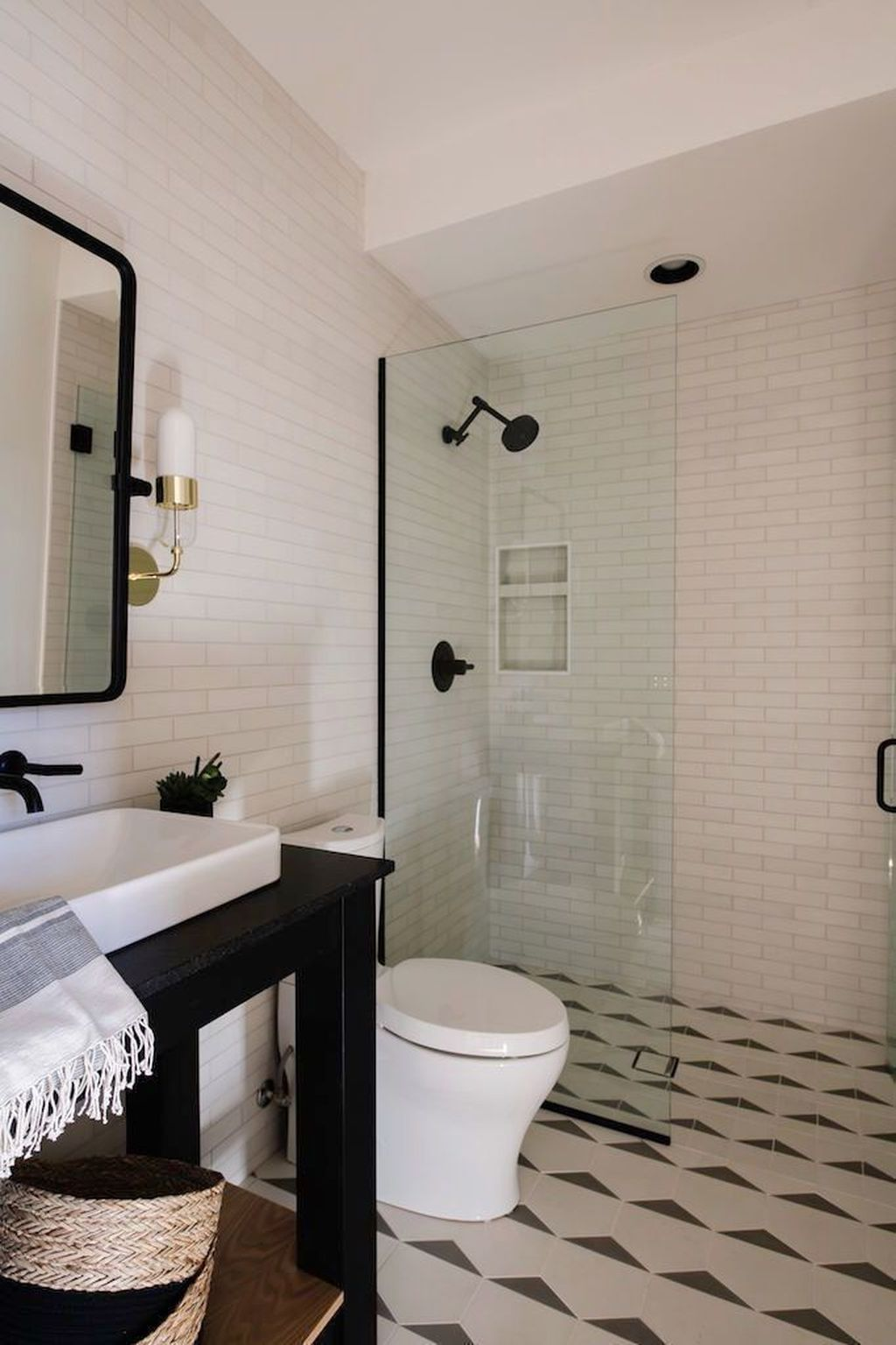 Amazing White Tile Bathroom Design Ideas Looks Elegant 01