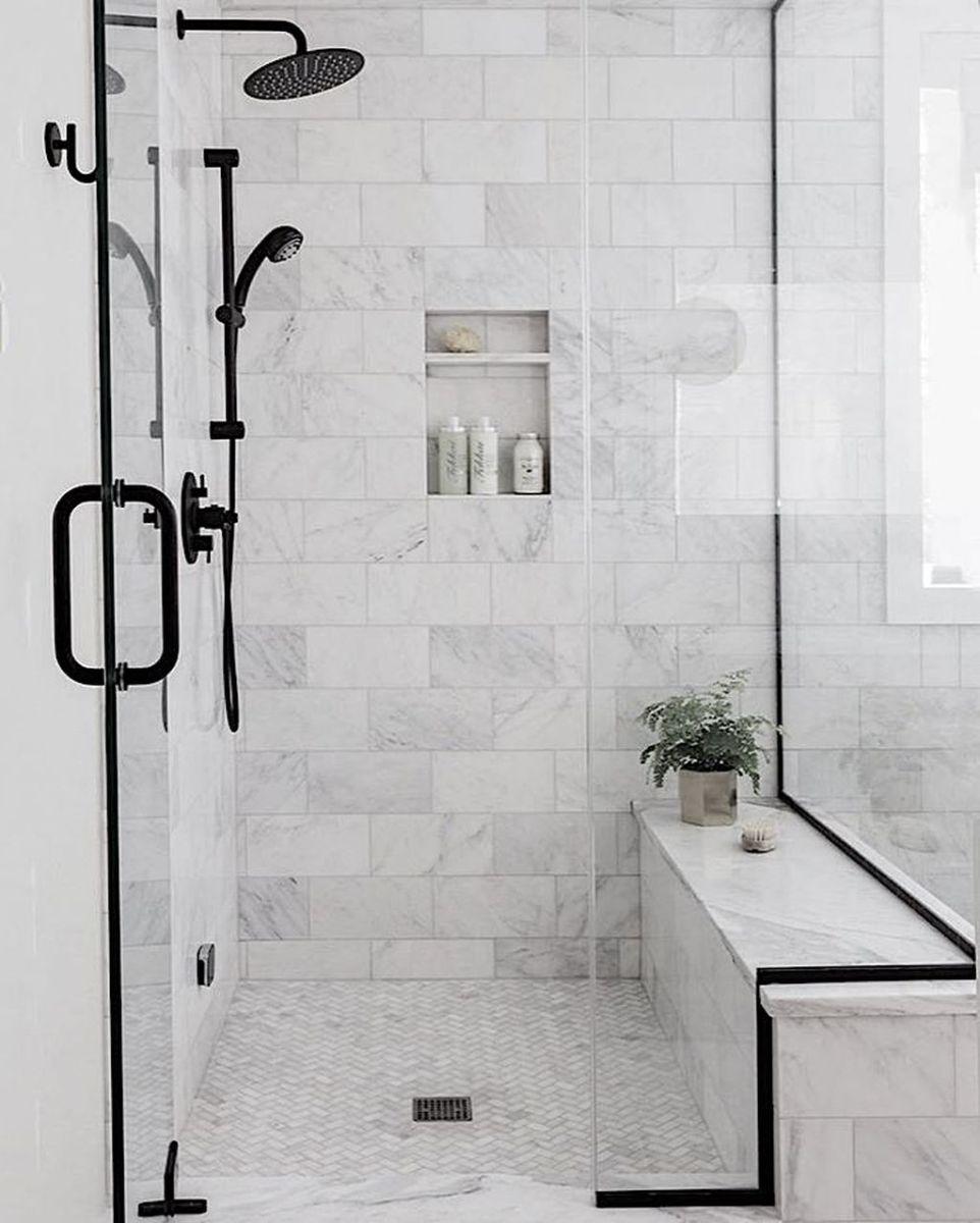 Amazing White Tile Bathroom Design Ideas Looks Elegant 36