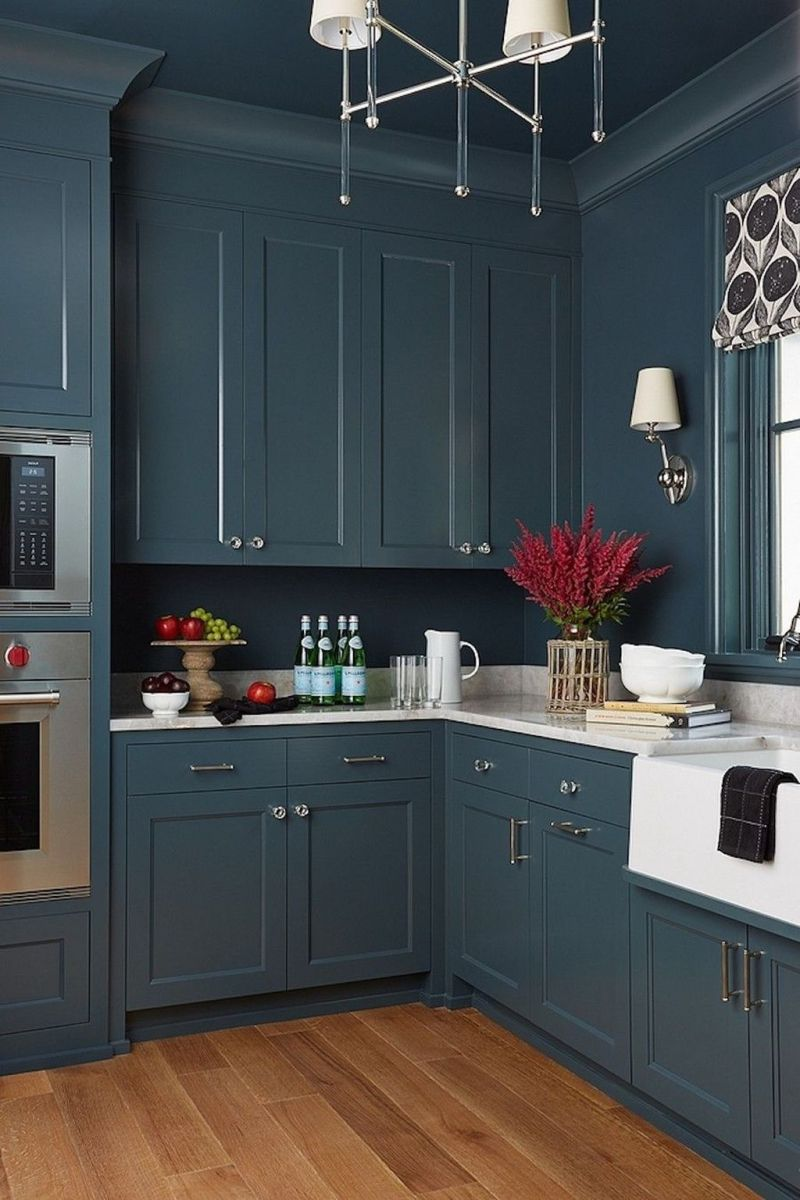 Nice Dark Blue Kitchen Cabinets With Luxurious Accent 08
