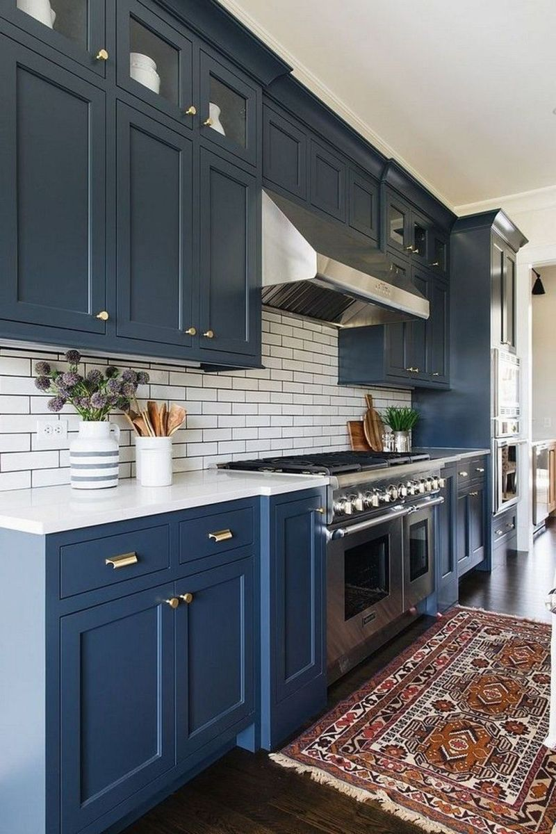 Nice Dark Blue Kitchen Cabinets With Luxurious Accent 10