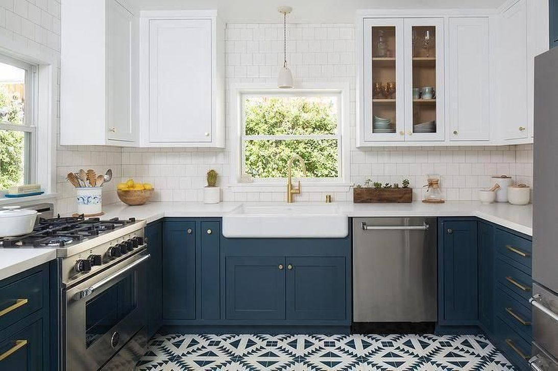 Nice Dark Blue Kitchen Cabinets With Luxurious Accent 12