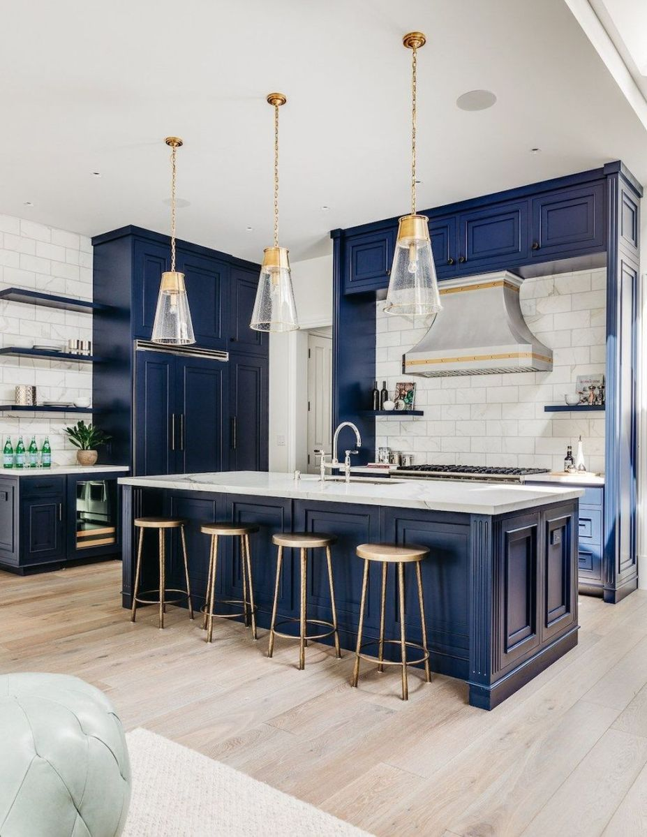 Nice Dark Blue Kitchen Cabinets With Luxurious Accent 15