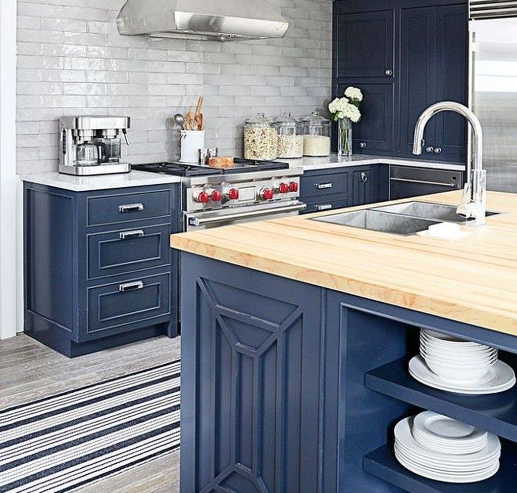 Nice Dark Blue Kitchen Cabinets With Luxurious Accent 16