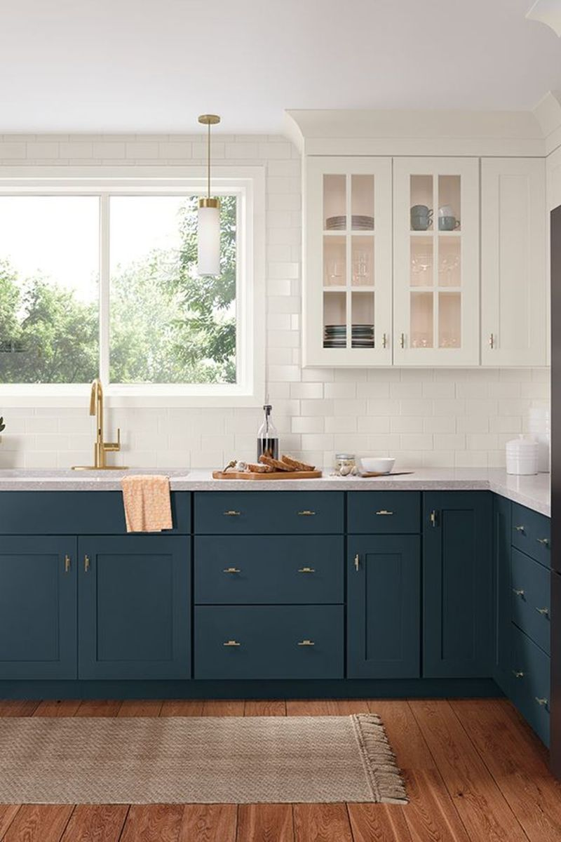 Nice Dark Blue Kitchen Cabinets With Luxurious Accent 22