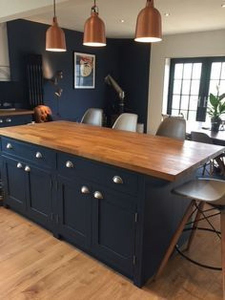 Nice Dark Blue Kitchen Cabinets With Luxurious Accent 25