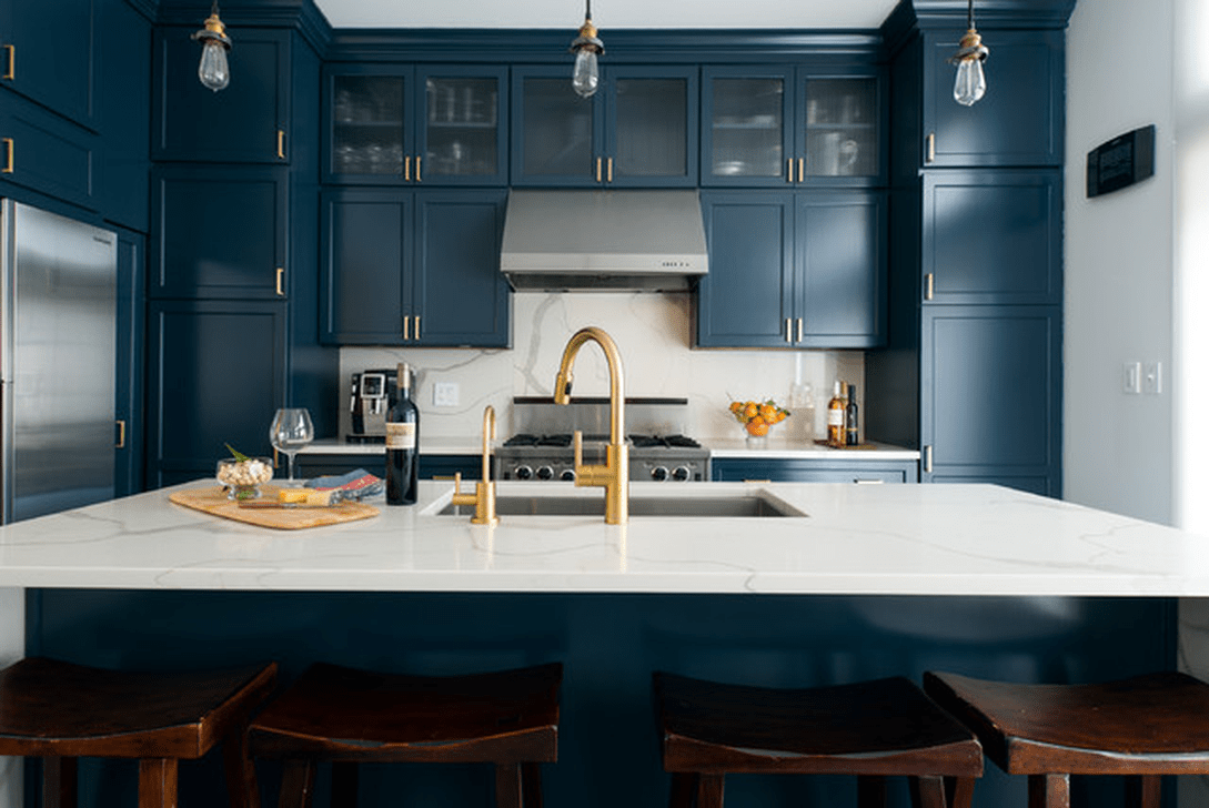 Nice Dark Blue Kitchen Cabinets With Luxurious Accent 26