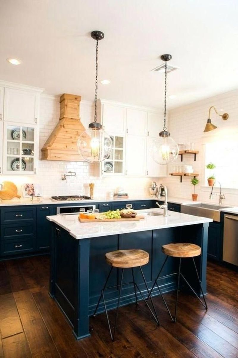 Nice Dark Blue Kitchen Cabinets With Luxurious Accent 27