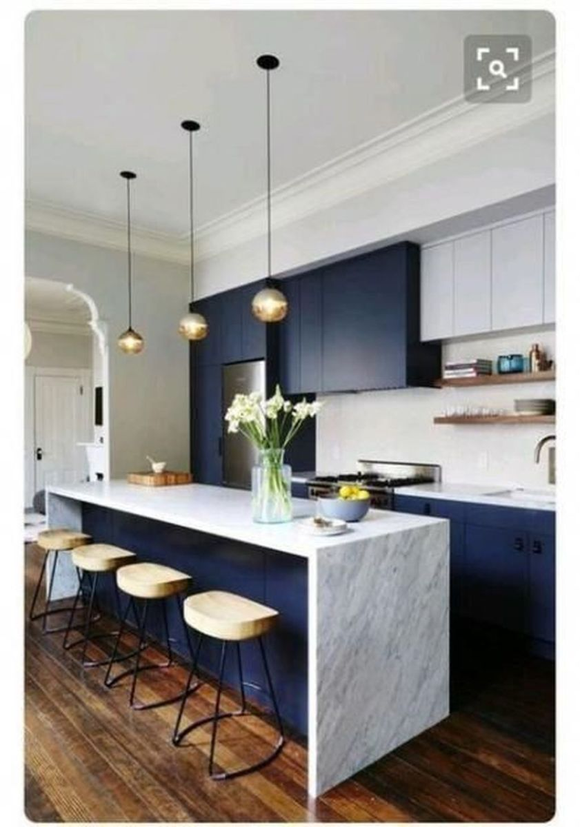 Nice Dark Blue Kitchen Cabinets With Luxurious Accent 28