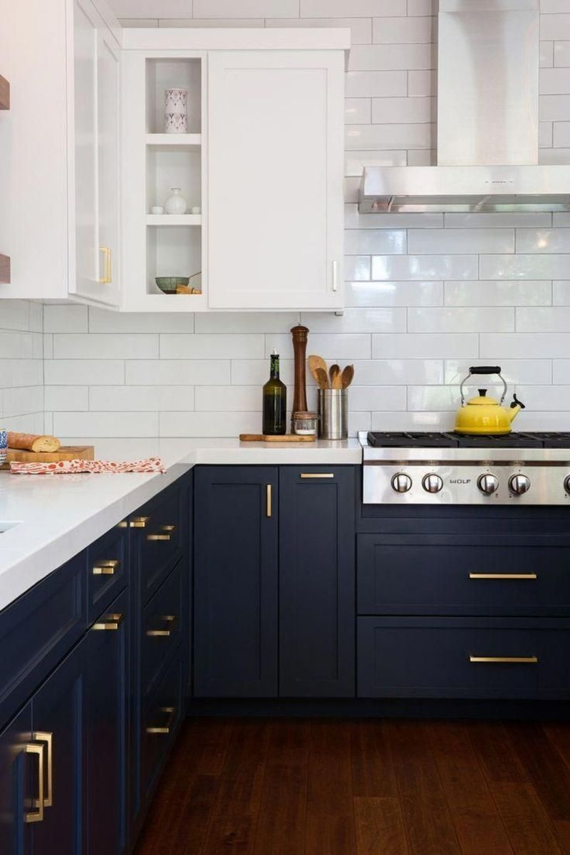 Nice Dark Blue Kitchen Cabinets With Luxurious Accent 29