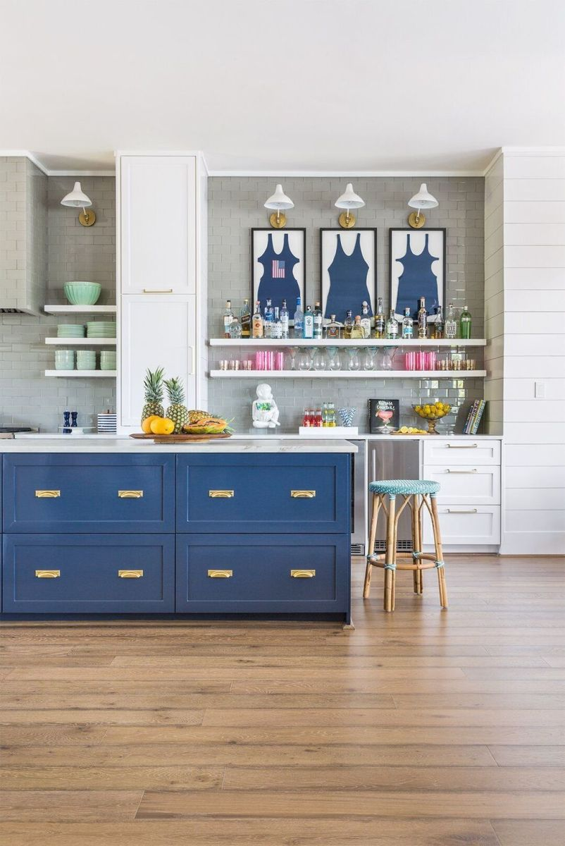 Nice Dark Blue Kitchen Cabinets With Luxurious Accent 32