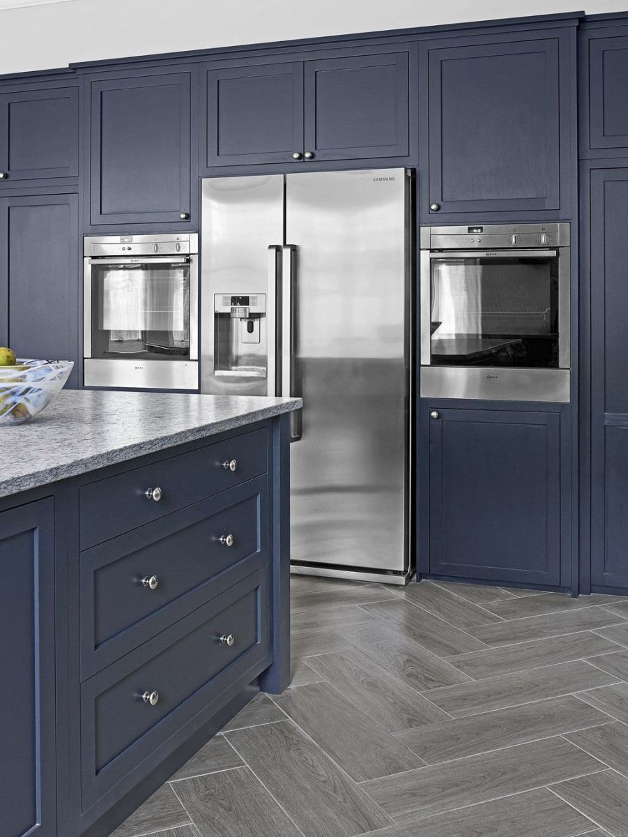 Nice Dark Blue Kitchen Cabinets With Luxurious Accent 39