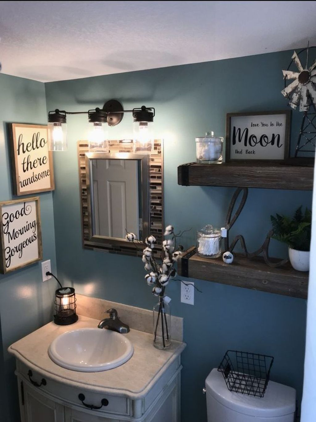 Nice Blue Color Bathroom Decor Ideas 21