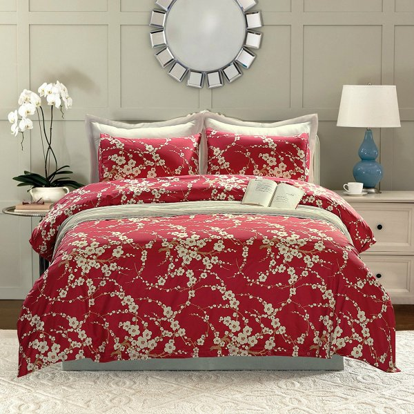 Red Cherry Blossom Duvet Cover And Pillow Set