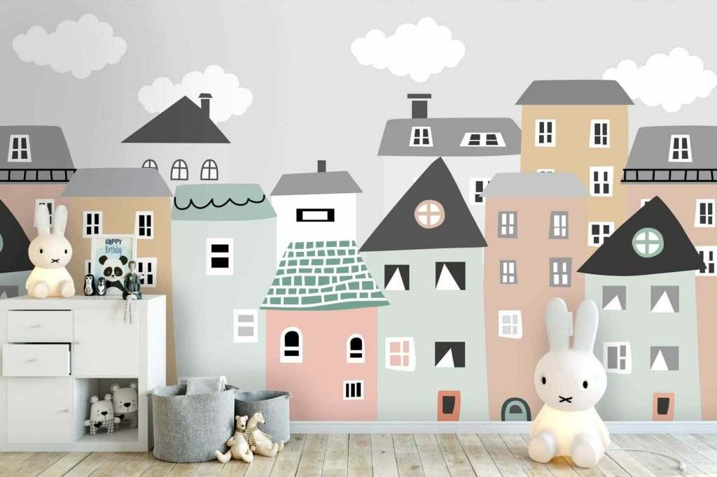 papier peint geometrique ville pour enfant