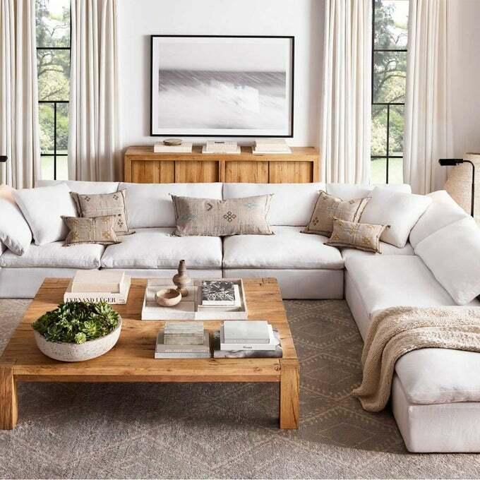 canapé en lin blanc