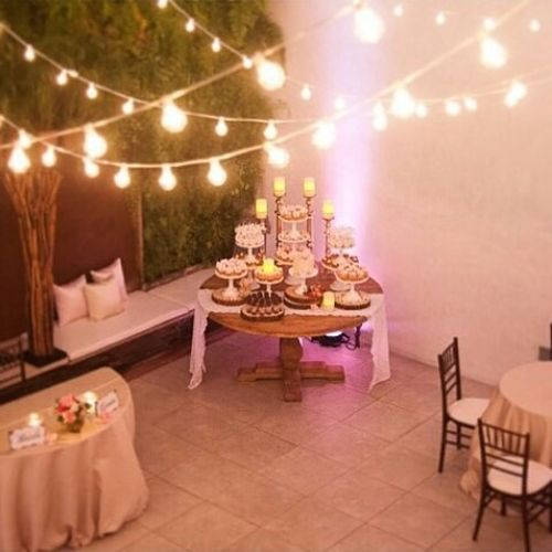 romantic table with sweets,
