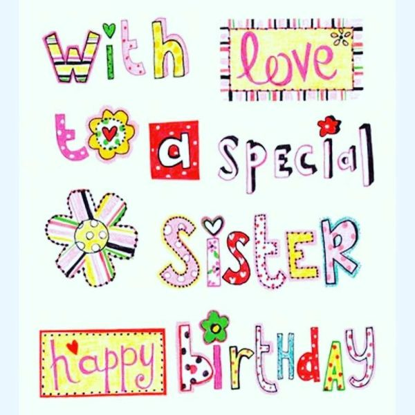 charming happy birthday card for sister