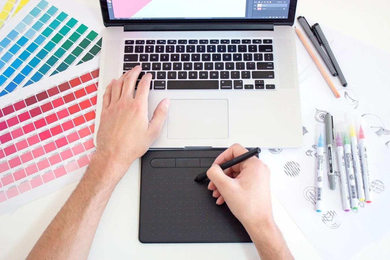 graphic designer hands on keyboard tool