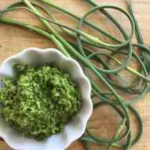 Garlic scapes blended with olive oil.