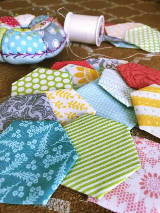spring-colored quilt hexegons for spring studio tour
