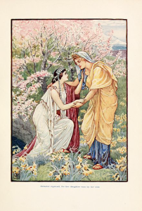 Demeter and Persephone by Walter Crane, from The Story of Greece: told to boys and girls (1914) by Mary Macgregor