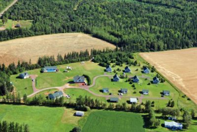 aerial view of Swept Away Cottages