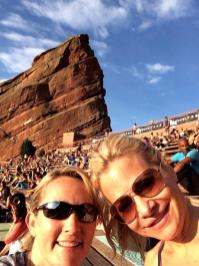 My friend Lisa and I at Yoga on the Rocks