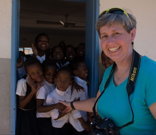 Heidi with the Kids in Botswana