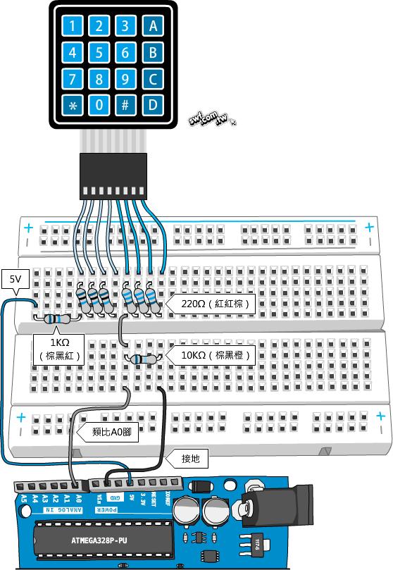 Arduino 4x4薄膜鍵盤模組實驗(二):減少佔用Arduino的數位接腳 - 超圖解系列圖書