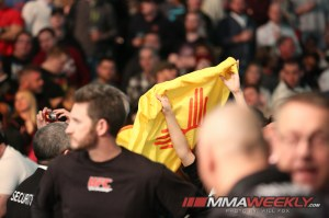 Chicago, IL - Jan 26, 2013:  Demetrious Johnson (Black trunks) a