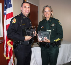 (Vice President) Chief Kevin Vespia and Major Kathy Rairden (Lee County SO) accepting on behalf of Deputy Pierot and Deputy Park