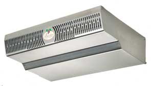 The stainless ceiling mounted evaporator is attractve, simple to service
