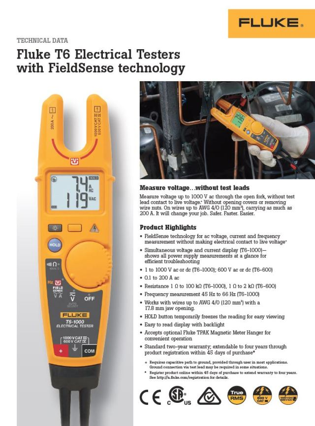 Fluke T6 Elecctrical Testers with FieldSense Technology