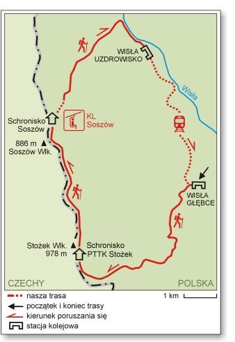 Beskid Śląski, mapa, Stożek, Soszów