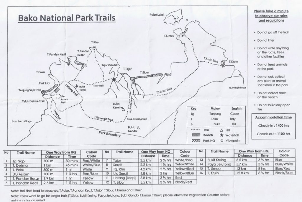 map hiking trails bako national park borneo 1024x684 - Kuching i okolice - co zwiedzić?