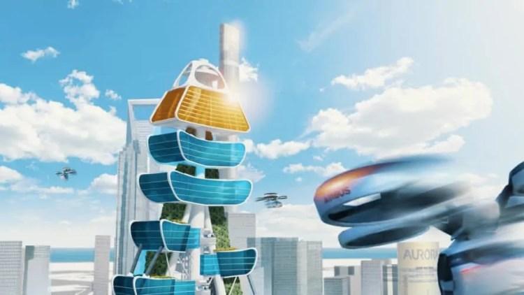 Smart Power Long, Power Long, Richard's Architecture + Design, Smart Power Long by Richard's Architecture + Design, Shanghai, drone car tower, net zero, flying taxi