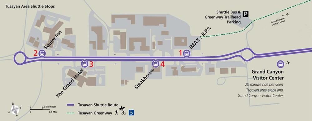 Wielki Kanion - mapa purpurowej linii autobusu